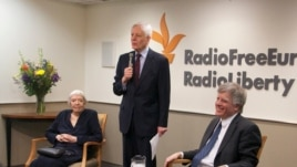 RFE/RL President Kevin Klose, flanked by Russian human rights leader Lyudmila Alekseyeva (l) and journalist and author David Satter (r) at a Washington, DC reception to mark the 60th anniversary of Radio Liberty's first broadcast to Russia on March 1, 195