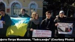 Антивоенный пикет в Новосибирске, архивное фото