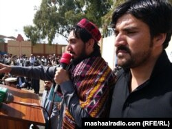 Manzoor Pashteen addressing a gathering of the Pashtun Tahfuz Movement in Mir Ali, North Waziristan on March 2