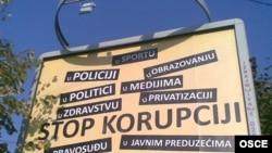 Bilbord iz jedne od ranijih kampanja OEBS-a protiv korupcije, Novi Pazar, 2008