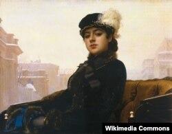 """Rus rəssamı Kramskoyun """"Naməlum qadının portreti"""" 1883"""