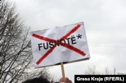 Protest u Prištini protiv sporazuma sa Srbijom o regionalnom predstavljanju Kosova, februar 2012.