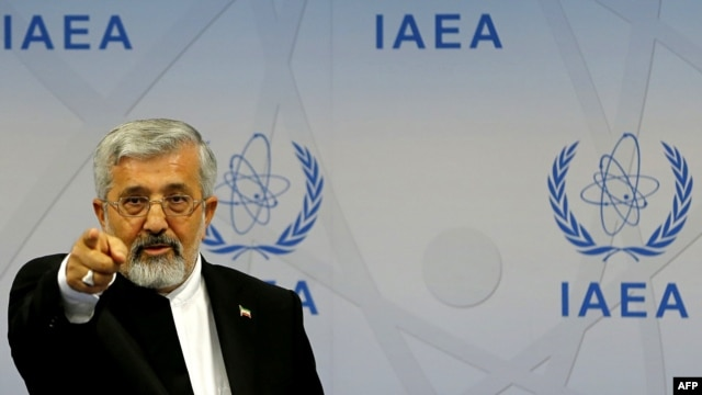 Iran's envoy to the International Atomic Energy Agency (IAEA), Ali Asghar Soltanieh, gestures during a press conference at the 56th IAEA General Conference at the IAEA headquarters in Vienna in September.