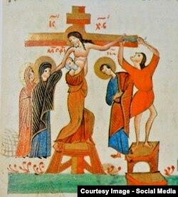 Crucificarea lui Iisus Cristos, miniatură din sec. al XVII-lea