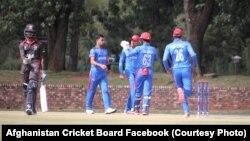 تیم کریکت زیر ۱۹ سال افغانستان در جریان مسابقه با تیم امارات متحده عربی در افریقای جنوبی
