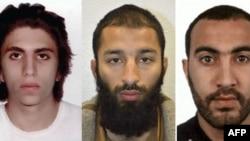 London Bridge-də terror törətməkdə günahkar bilinənlər. Youssef Zaghba, Khuram Shazad Butt and Rachid Redouane (soldan sağa)