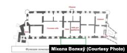 Схема другога паверху паводле інвэнтароў 1650-1653 гадоў