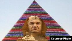 Елка на майдане ў выглядзе піраміды і прэзыдэнт Януковіч у выглядзе сфінкса
