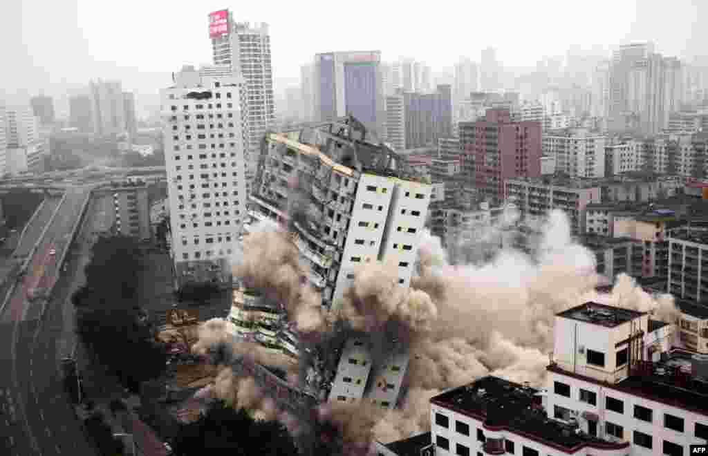 A building is demolished in Haikou in China's southern Hainan Province. (AFP)