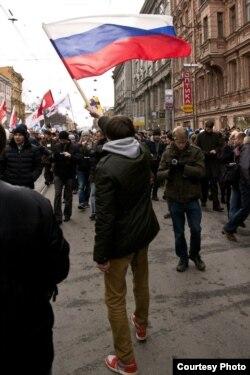 Александр Беляев на митинге за честные выборы
