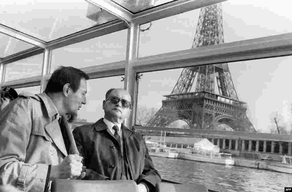 Jaruzelski cruising on the River Seine past the Eiffel Tower during an official visit to France in December 1985, where he'd gone to try to meet with President Francois Mitterand of France, one of the staunchest critics of Jaruzelski's decision to impose martial law in Poland.