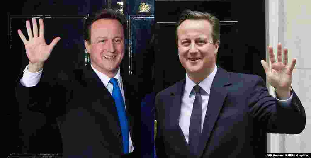 British Prime Minister David Cameron in 2010 (left) and 2015.