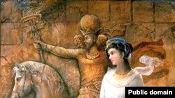 Құсрау мен Шырынды бейнелейтін белгісіз суретшінің картинасы.