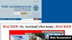 A screengrab of the website for the ruling New Azerbaijan Party, which was hacked on January 16.