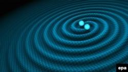 Впечатление художника о гравитационных волнах, генерируемых двойными нейтронными звездами