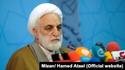 Iranian judiciary spokesman Gholamhossein Mohseni-Ejei speaking on February 25, 2018.