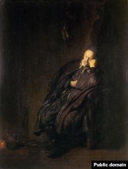 Рэмбрандт, «Стары чалавек сьпіць каля каміна» (1629)