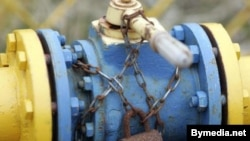 A locked valve on a gas pipeline in the Minsk region (file photo)