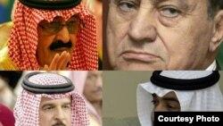 عبدالله بن عبدالعزیز پادشاه عربستان (بالاچپ)، حسنی مبارک، رئیس جمهوری مصر(بالا راست)، حمدبن عیسی آل خلیفه پادشاه بحرین (پایین چپ) و شیخ محمد بن زاید، ولیعهد ابوظبی