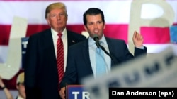 U.S. President Donald Trump (left) and his son Donald Trump Jr. (file photo)