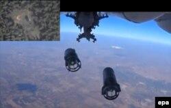 """Орусиянын аскер учагы, Москва айтышынча, Идлиб шаарындагы """"Даиштин"""" өңүттөрүнө бомба таштоодо. 5-октябрь"""