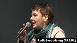 Українська письменниця Оксана Забужко на презентації книжки Вацлава Гавела у Києві, 15 лютого 2017 року