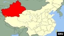 Ушбу харитада Шинжон Уйғур мухтор вилояти қизил рангда кўрсатилган.