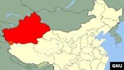 Қытайдың Шыңжаң ұйғыр автономиялық ауданының картасы.
