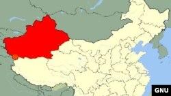 Hytaýyň günbataryndaky Sinjiang regiony.