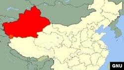 Шыңжаң ұйғыр автономиялы ауданының картасы (қызыл түспен боялған). Көрнекі сурет.