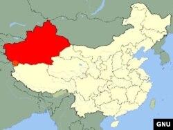 Кытайның көнбатышында урнашкан Синҗан төбәге (кызыл төстә)