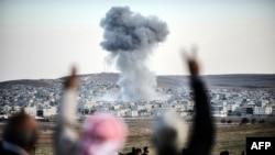 Кобани шаарынын алыстан көрүнүшү.