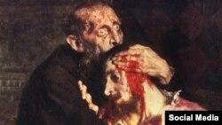 Ільля Рэпін. Іван Жахлівы і сын яго Іван. 16 лістапада 1581, фрагмэнт