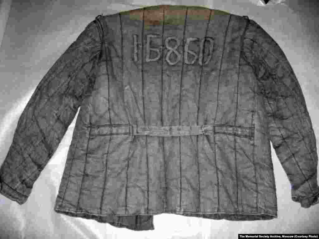 A Gulag prisoner's padded jacket, with identification numbers visible on the back
