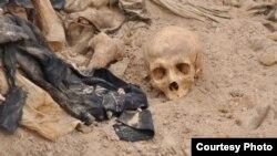 مشهد في احدى المقابر الجماعية في العراق