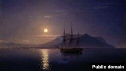 Картина Івана Айвазовського «Вітрильник біля берегів Криму в місячну ніч», 1858 рік