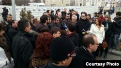 Прес-конференција на Координативниот совет на невладините организации за обнова на Бурмали џамијата на плоштадот во Скопје.