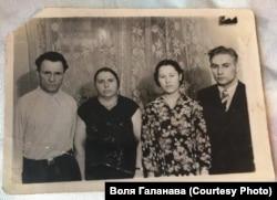Іван і Варвара Галанавы з сынам і нявесткай, 1961 год