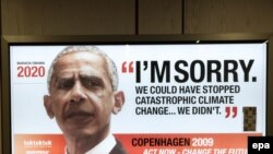 """""""Барак Обама извиняется через 10 лет"""" - """"ГринПис"""" призывает в своей рекламе мировых лидеров заключить справедливое соглашение по защите климата, Копенгаген, 3 декабря 2009 года"""