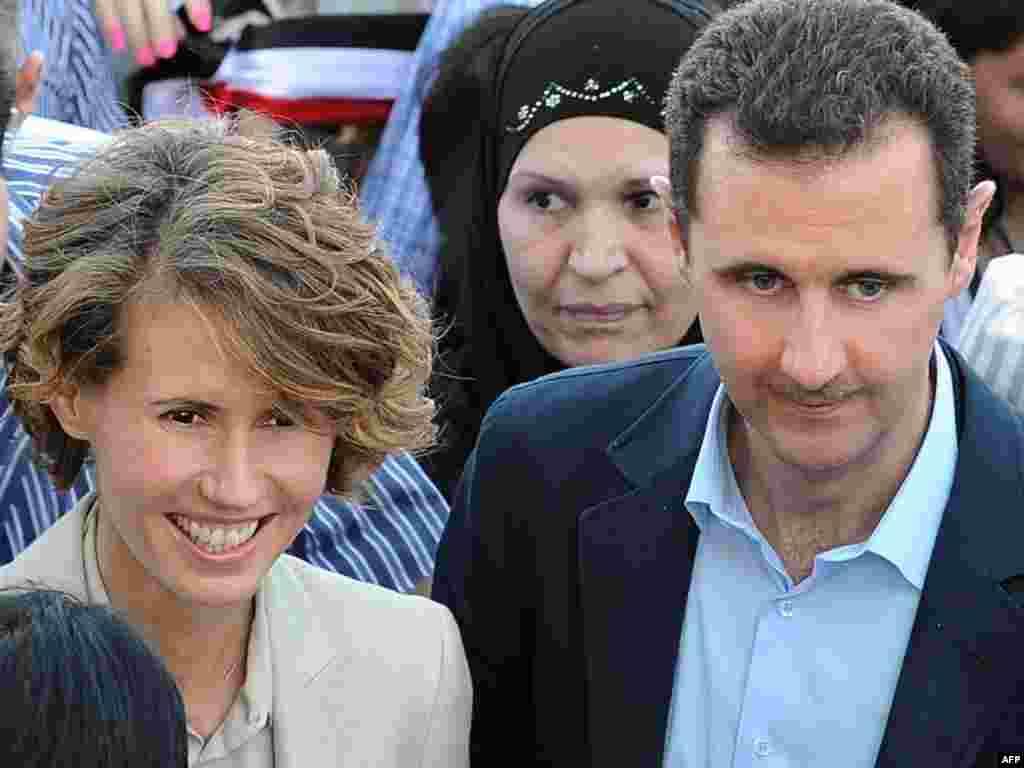 Президент Сирии Башар Асад с супругой.