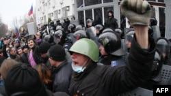 Демонстрация пророссийских сил в Донецке. 16 марта 2014 года.