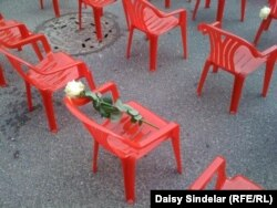 Tiny chairs for Sarajevo's youngest victims.