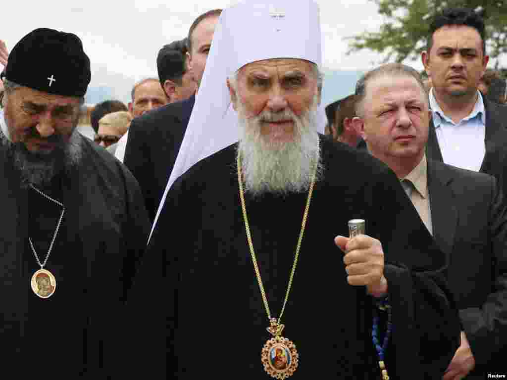 Serbian Patriarch Irinej attends an event to mark the anniversary of the 1389 Battle of Kosovo Polje at Gazimestan, near Pristina, on June 28, 2010.