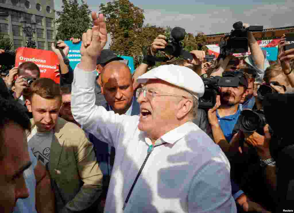 Veteran politician Vladimir Zhirinovsky attends the protest in Moscow.