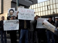 Iranian students demonstrating against UN sanctions outside Shell's Tehran office in December 2006 (epa)