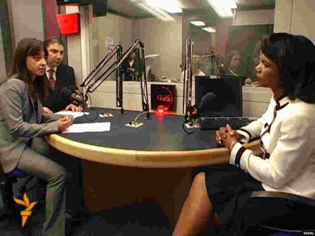 U.S. Secretary of State Condoleeza Rice is interviewed by RFE/RL correspondent Golnaz Esfandiari in July 2008.
