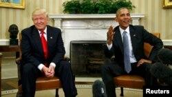 Дональд Трамп (слева) и Барак Обама