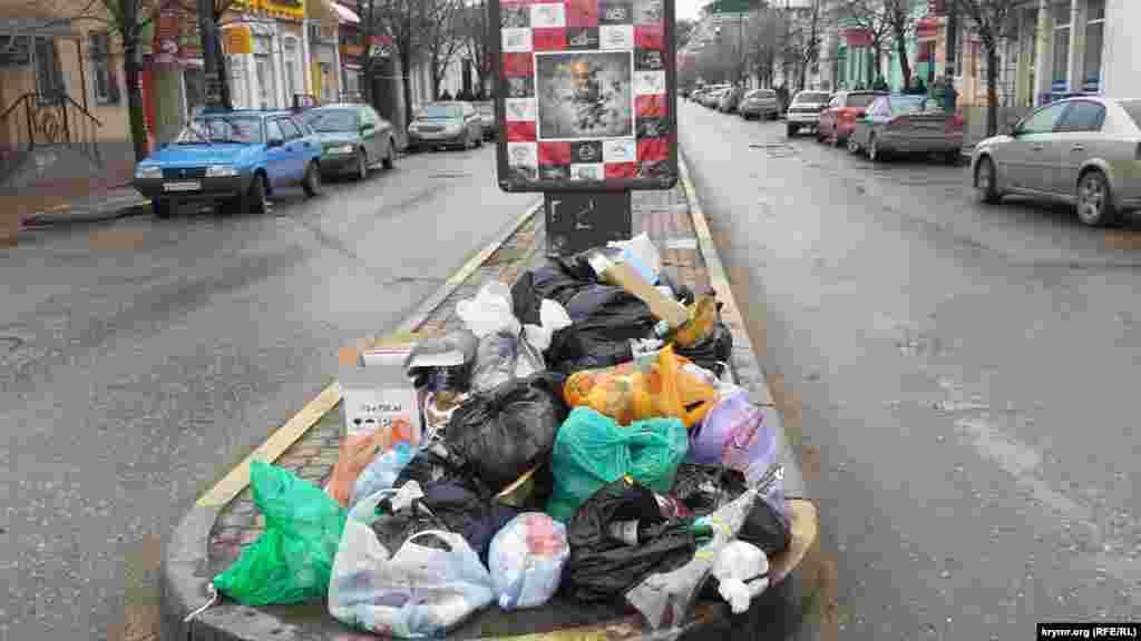 Например, на улице Козлова мешки с мусором местные жители складывают прямо под рекламными конструкциями