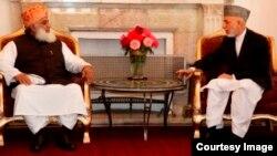 کابل ارګ: افغان ولسمشر حامد کرزی په کابل کې د پاکستان جمعیت العماء اسلام له مشر مولانا فضل الرحمن سره ویني. ۱۱اکتوبر ۲۰۱۳