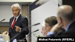 Council of Europe Secretary-General Thorbjorn Jagland (left, in file photo)